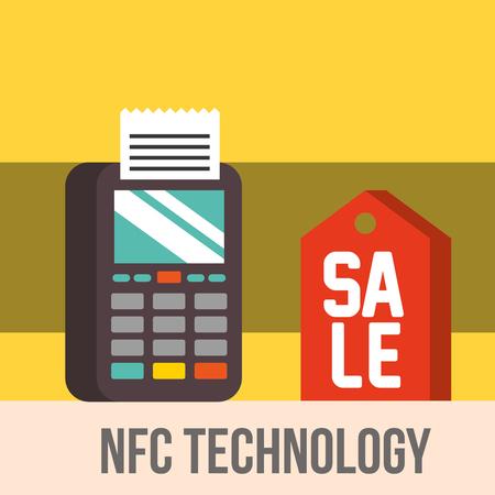 nfc payment technology dataphone pay sale sign vector illustration Ilustração