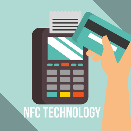 nfc payment technology dataphone hand holding credit card pass vector illustration
