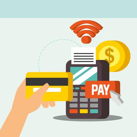 NFC pagamento tecnologia segnale dataphone moneta denaro mano che tiene la carta di credito illustrazione vettoriale