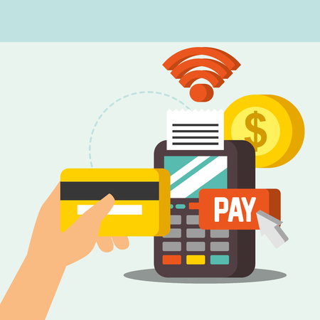 nfc payment technology signal dataphone coin money hand holding credit card vector illustration