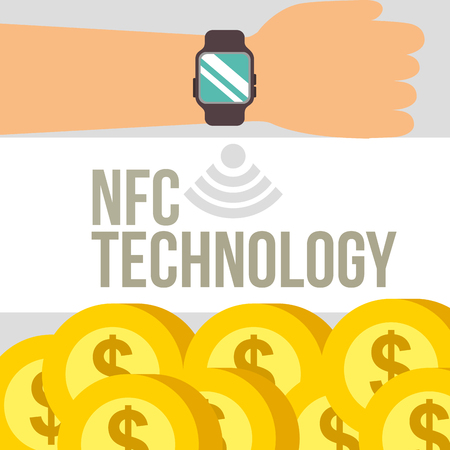 nfc payment technology hand with wristwatch many coins background vector illustration