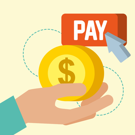 nfc payment technology hand holding coin sign pay arrow pointed vector illustration Çizim