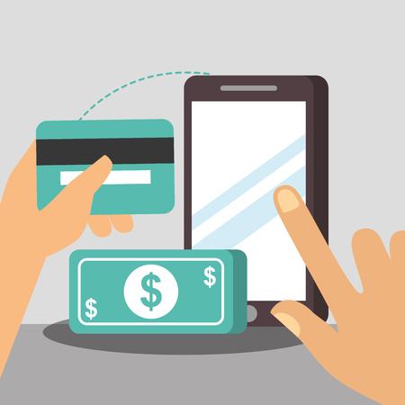 nfc payment technology hands holding pointed smartphone screen credit card money vector illustration Ilustração