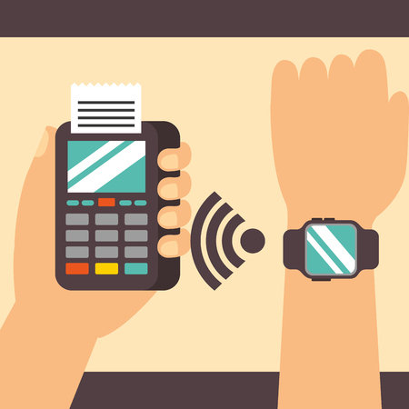 nfc payment technology hand using wristwatch signal dataphone vector illustration Ilustração