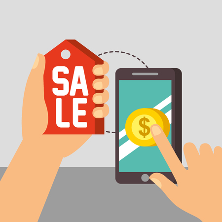 nfc payment technology hands holding sale sign smartphone coin screen vector illustration