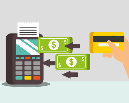 Tecnología de pago nfc transferir dinero datáfono mano sosteniendo tarjeta de crédito ilustración vectorial