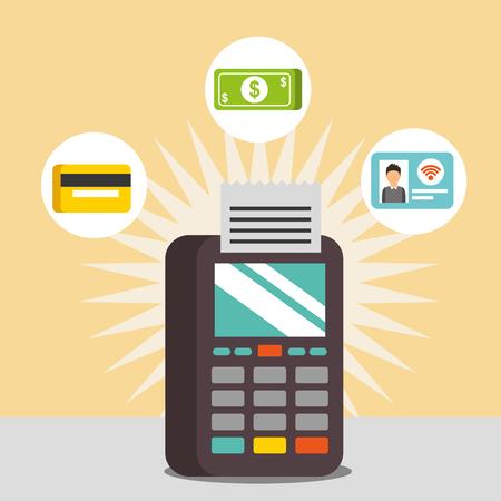 nfc payment technology dataphone credit card money vector illustration