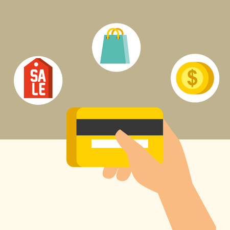 nfc payment technology hand holding credit card sale coin shopping handbag vector illustration