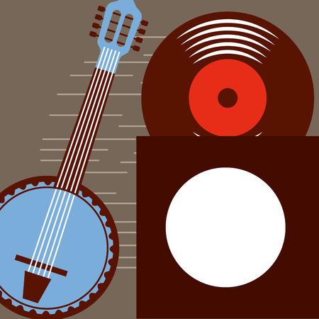 jazz festival blue banjo disk grunge style background vector illustration