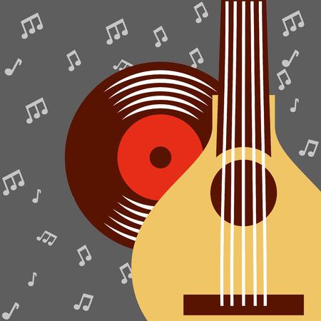 jazz festival banjo disk music  notes background vector illustration Stock Vector - 105571490