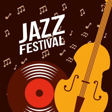 jazz festival cello disk music  notes background vector illustration