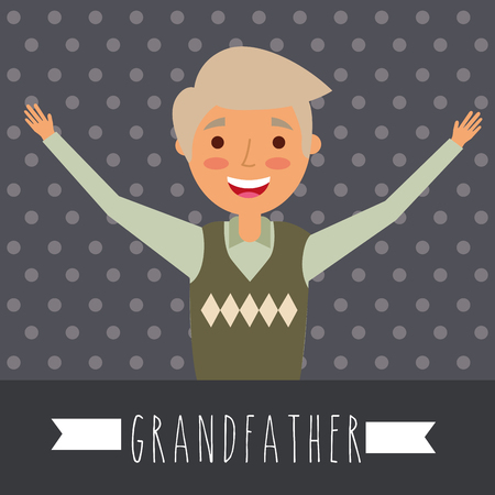 grandparents day dotted background happy grandfather hands up vector illustration