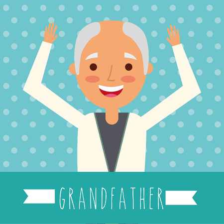 grandparents day dotted background bald grandfather hands up vector illustration