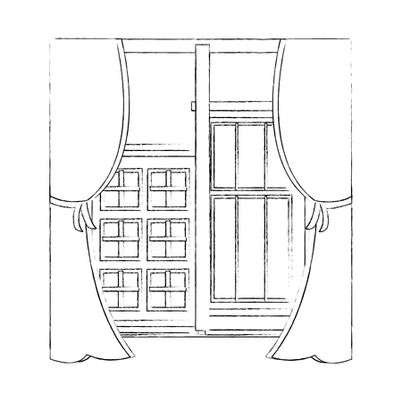 house window with cityscape view vector illustration design