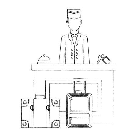 hotel reception with bellboy vector illustration design