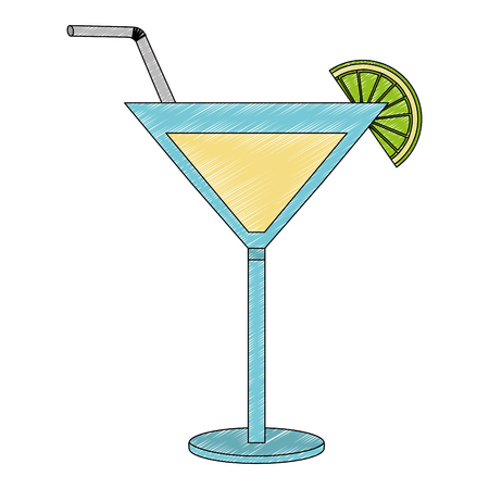 cocktail drink with straw and fruit isolated icon vector illustration design