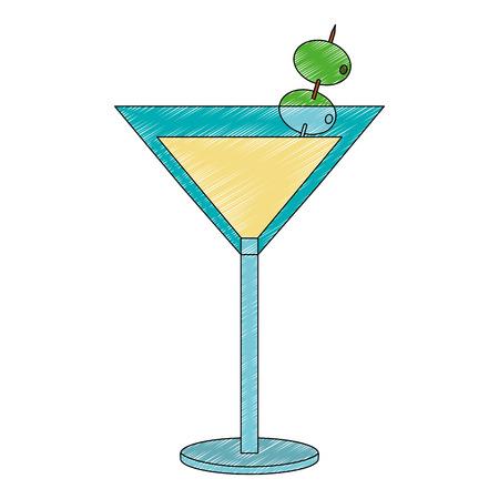 Cóctel con olivo, diseño de ilustraciones vectoriales icono aislado