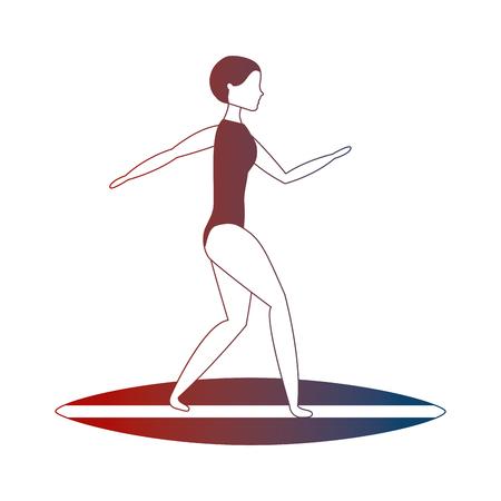 woman in swimsuit on surfboard vector illustration neon