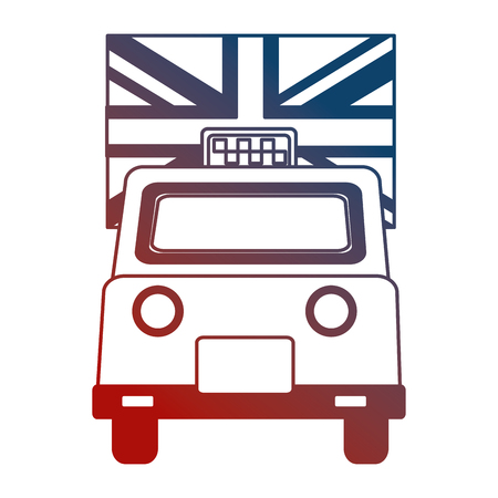 taxi cab transport england flag design vector illustration neon Illustration