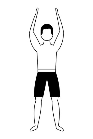 man in swimsuit with hands up vector illustration black and white
