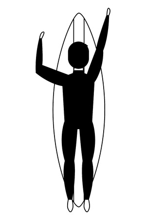 top view man in swimsuit on surfboard vector illustration black and white