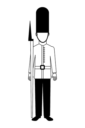 royal british guard with bearskin hat and weapon vector illustration black and white