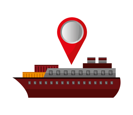 ship boat with pin location vector illustration design Standard-Bild - 105522725