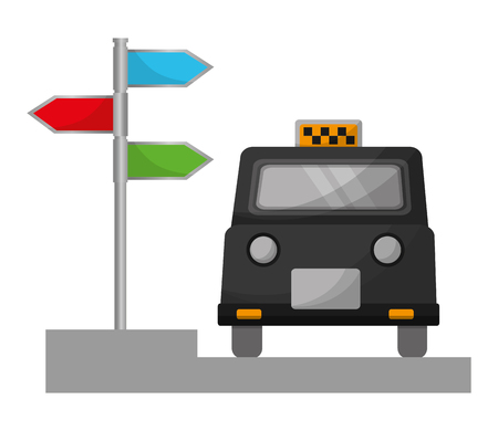 london taxi and signage with arrows vector illustration design Ilustração