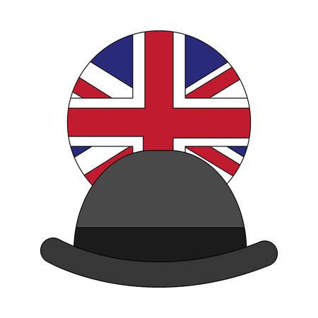 gentleman hat with emblem of flag great britain vector illustration design Illustration