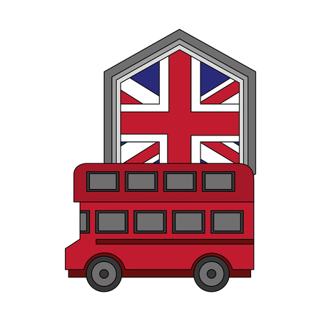 bus transport with emblem of flag great britain vector illustration design Stock Illustratie