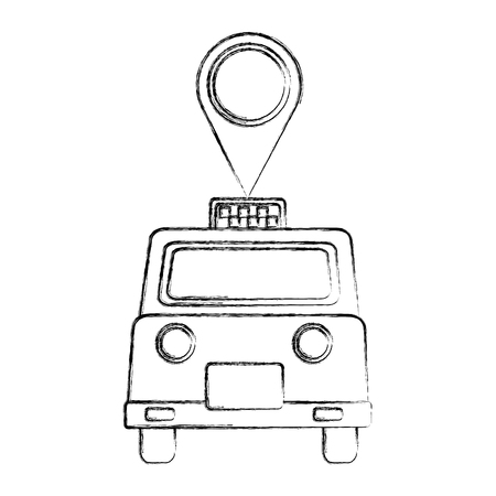 london taxi with pin location vector illustration design Stok Fotoğraf - 112380611