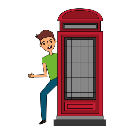 classic british telephone booth with young man vector illustration design Foto de archivo - 112380612