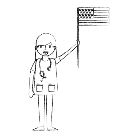 woman doctor holding american flag labor day vector illustration sketch