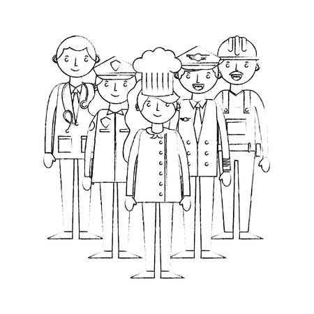 group people worker professionals occupation labor day vector illustration sketch