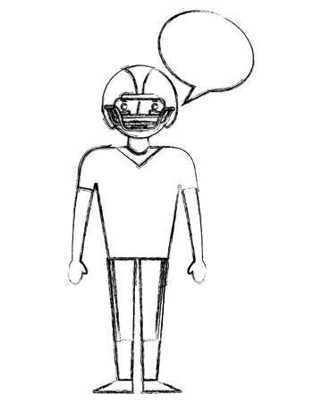 sport man player american football speech bubble vector illustration sketch