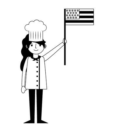 restaurant female chef with usa flag vector illustration design