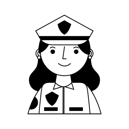 woman officer police character icon vector illustration design Illustration