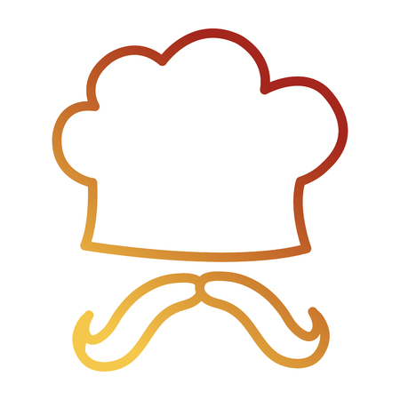 chef hat uniform with mustache vector illustration design