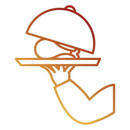 mano con vassoio e delizioso disegno di illustrazione vettoriale coscia di pollo Vettoriali
