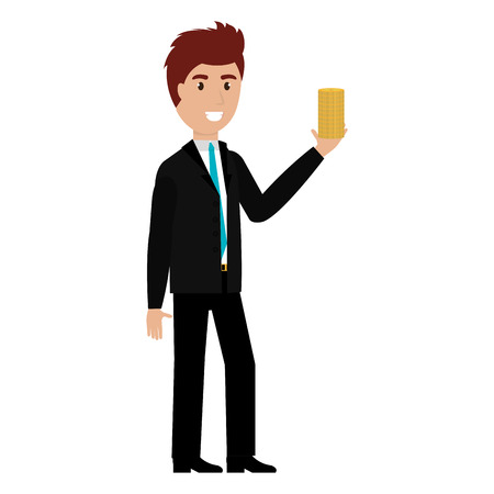 businessman with coins character vector illustration design 向量圖像