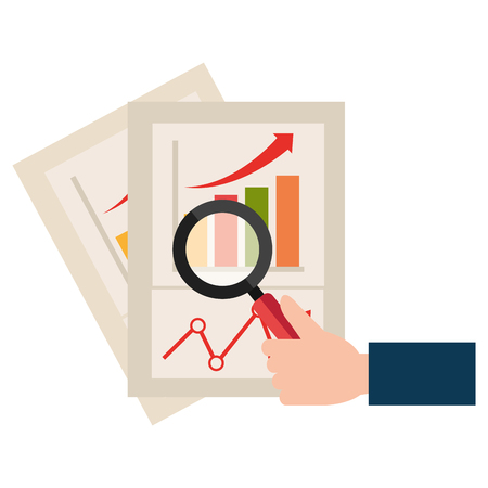 magnifying glass with financial document vector illustration design