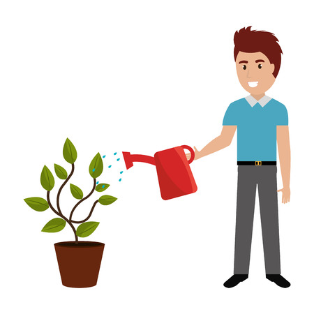 man cultivating plant with watering pot vector illustration design Illusztráció