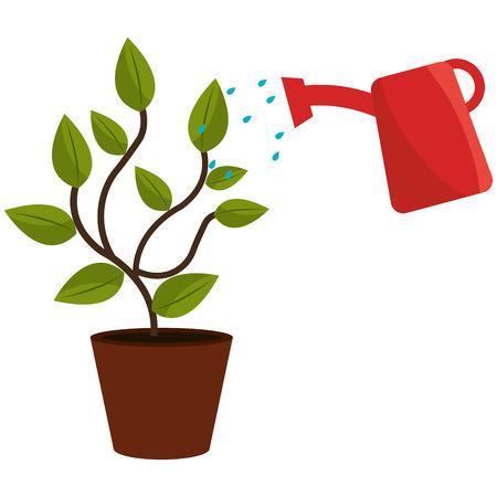 pianta con progettazione dell'illustrazione di vettore del vaso dello spruzzatore