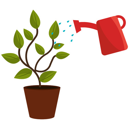 Planta con maceta de rociadores, diseño de ilustraciones vectoriales