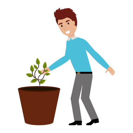 man cultivating plant character vector illustration design Illustration