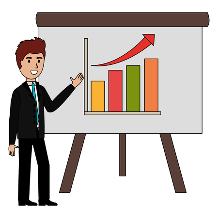 businessman with paperboard training character vector illustration design 向量圖像