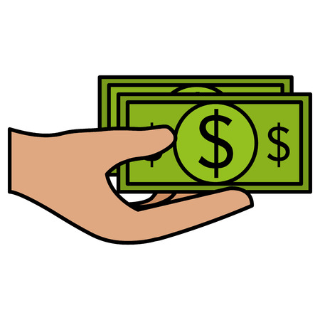 hand with bills money vector illustration design