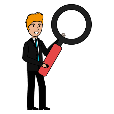 businessman with magnifying glass character vector illustration design
