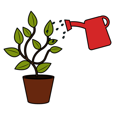 plant with sprinkler pot vector illustration design