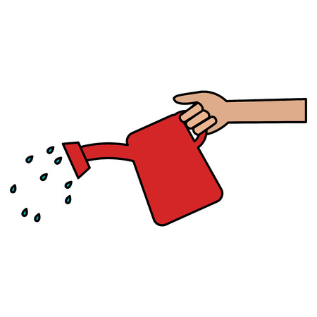 hand with sprinkler pot vector illustration design